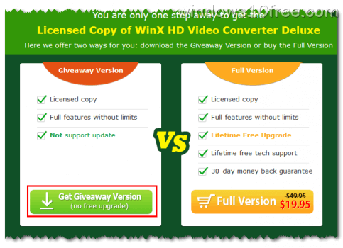 02 WinX HD Video Converter Deluxe Giveaway Comparison