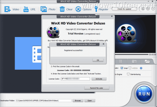 04 WinX HD Video Converter Deluxe Giveaway Activated Sucess