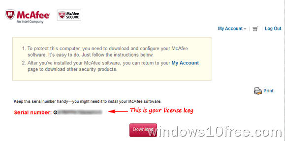 07 McAfee Internet Security 6 Month License My Account License Key