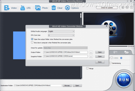 07 WinX HD Video Converter Deluxe Giveaway Option Screen