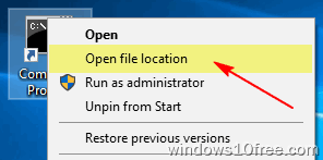 CMD Run As Administrato Method 2 Open File Location
