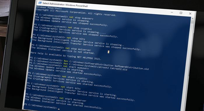 Manually resetting Windows Update Service