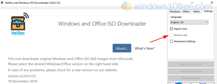 Windows ISO Downloader HeiDoc Ads Remove