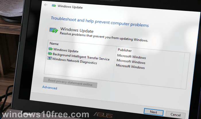 Windows Update Troubleshooter Start