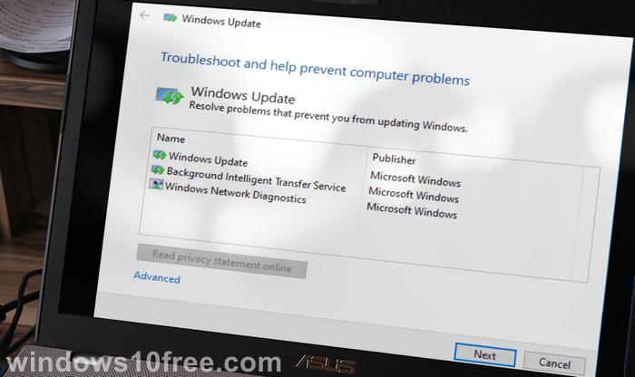 Windows Update Troubleshooter Start