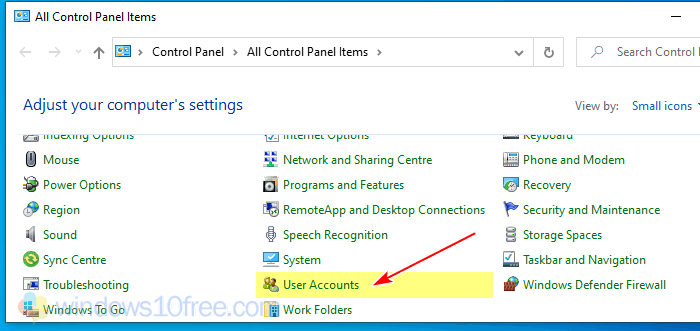 Windows 10 Change Username Classic Contorl Panel Select User Accounts
