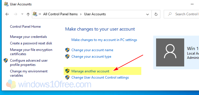 User Accounts Select Manage Another Account