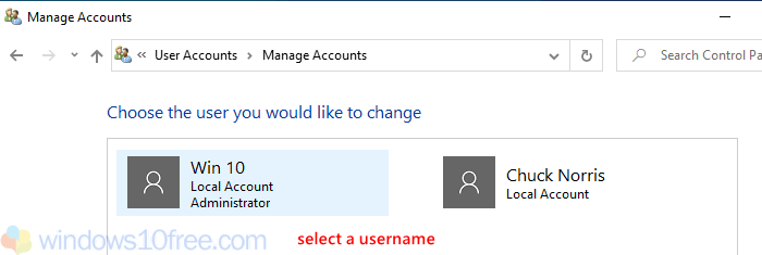 Manage Accounts Select Username