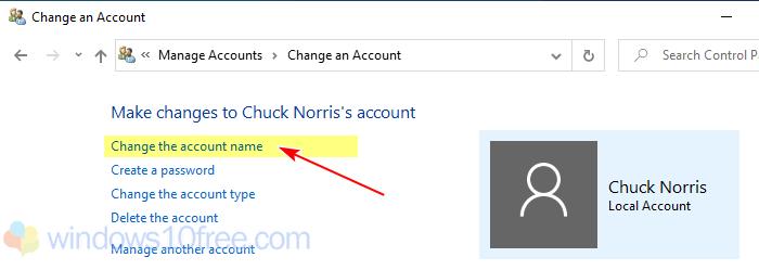 Change The Account Name