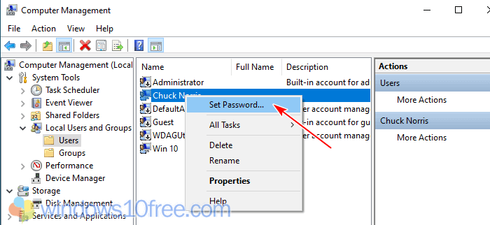 Change Password From Computer Management 02