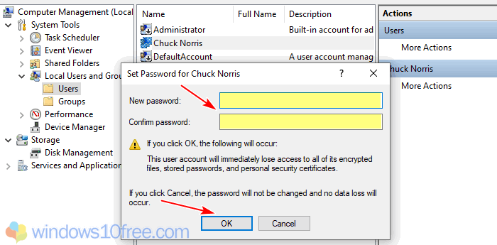 Change Password From Computer Management 04