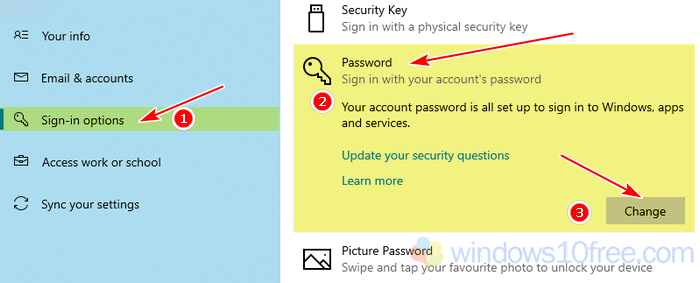 Change Password Sign In Options 03
