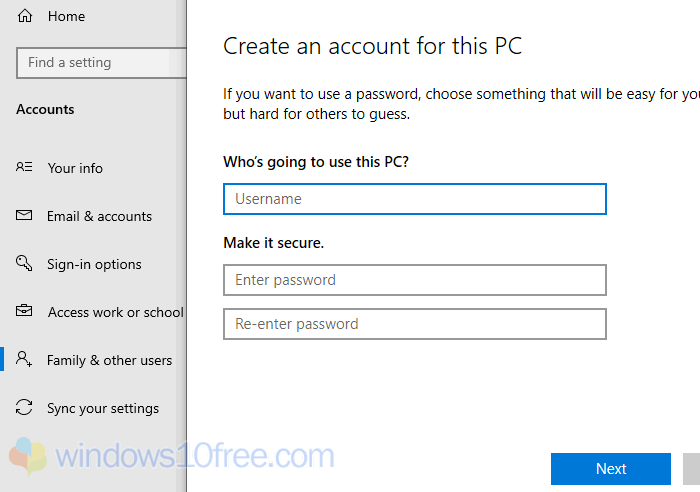 Create New Account Windows 10 05