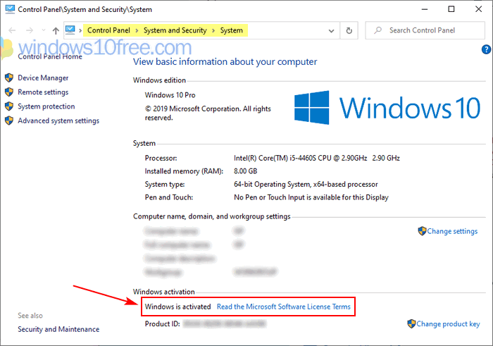 Windows 10 Activation Status From Control Panel