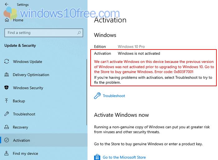 Windows 10 Activation Status